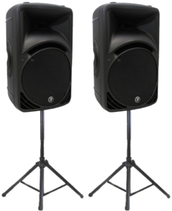 two-mackie-SRM450-powered-speakers-with-stands